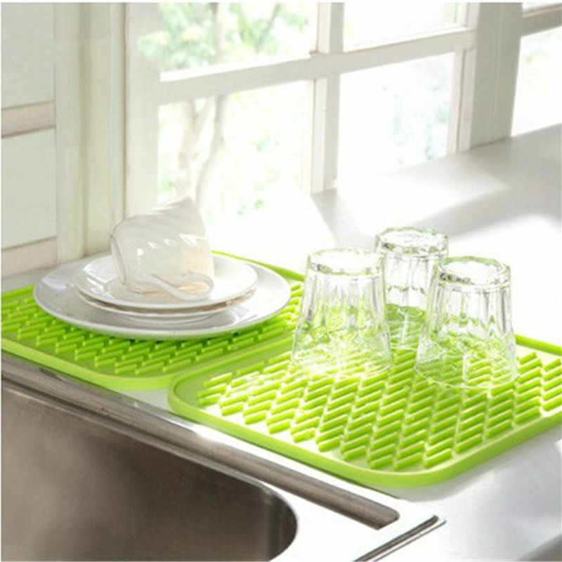Kitchen Sink Mat Dishes Cup Dry Mat Rack Silicone Pot Holder Heat Resistant Can Opener Non-slip Mat Table Placemat Coaster