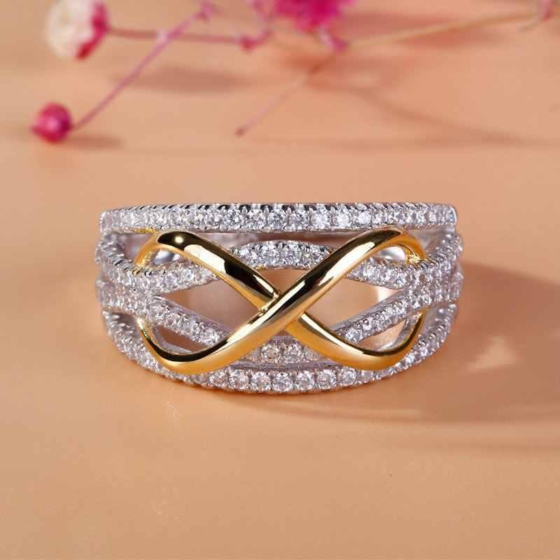แฟชั่นผู้หญิง Silver Gold Finger แหวนคลาสสิกขนาดเล็กสีขาว Zircon แหวนหมั้น Vintage สำหรับแหวนผู้หญิง