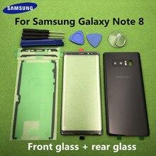 Per Samsung Galaxy Note 8 N950 N950F Originale Anteriore Obiettivo di Vetro Dello Schermo Note8 Posteriore Della Copertura di Batteria del Portello Posteriore Dellalloggiamento + sticker Strumenti