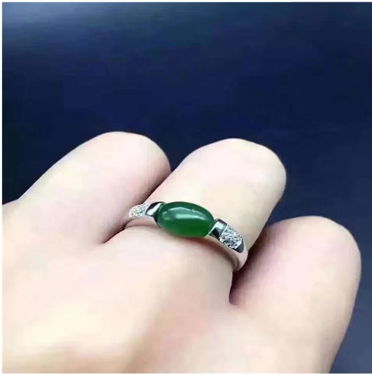 Free shipping Natural Hetian Jasper 925 sterling silver Ring Wholesales Fine jewelry  6*8mmFree shipping Natural Hetian Jasper 925 sterling silver Ring Wholesales Fine jewelry  6*8mm