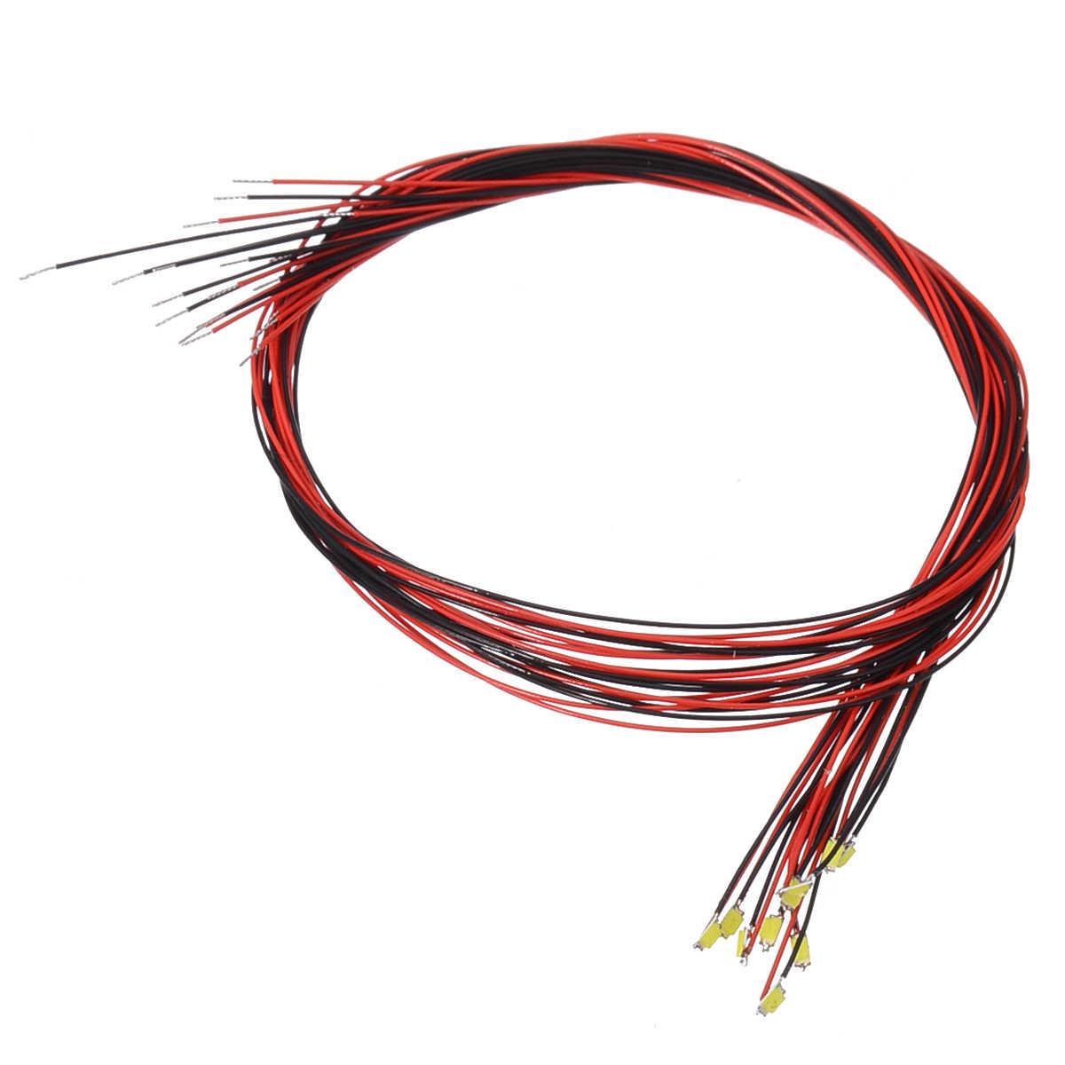 10 Chiếc Mới T0603WM LED Trước Hàn Micro Litz Cord Có Dây Dẫn Trắng SMD LED 200 Mm 3V /12V