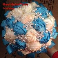 New Arrival Tay Tùy Chỉnh Màu Trắng Ngà Satin Rose Flower Ngọc Trâm Đồ Trang Sức Trang Trí Nội Thất Bridal wedding bouquet
