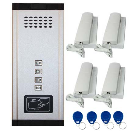 SMTVDP New Arrival Audio Door Phone Intercom System 4-apartments Audio Doorbell,New Design Indoor Unit ID Card Unlock Function