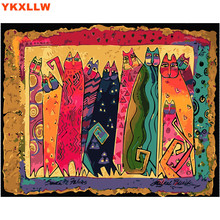 Abstract Cat Bright Colorful Animal Digital Painting By Numbers Modern Wall Art Picture Home