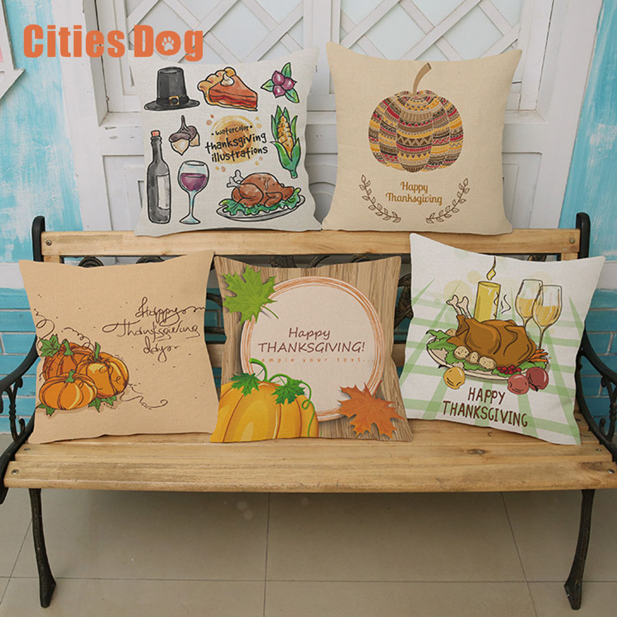 Thanksgiving pumpkin turkey printing Cotton Linen Pillowcase Decorative Pillows Cushion Use Home Car Office Almofadas Cojines