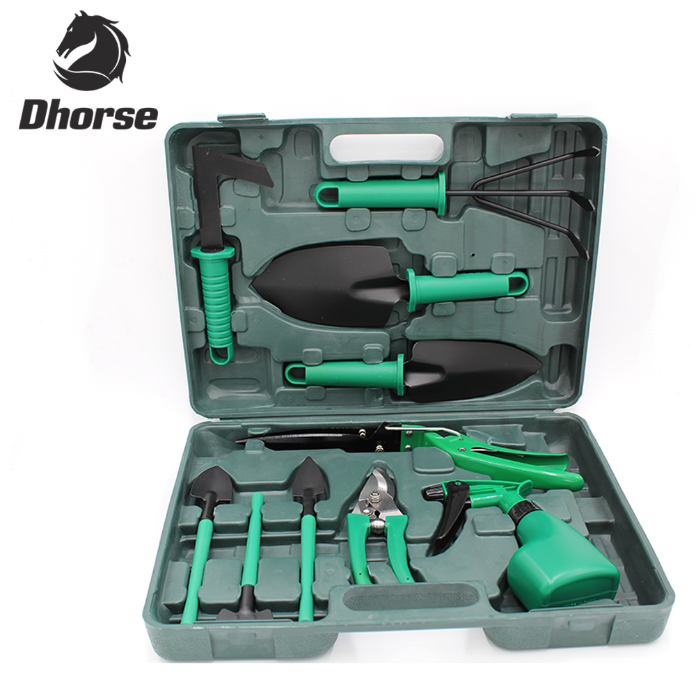 Dhorse High Quality 10Pcs Combination Utility Garden Tools Set Including Shear Rake Trowel Shovel Spray Bottle With Box SX029 high quality screwdriver combination set unique telescopic function