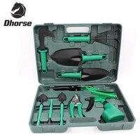 Dhorse High Quality 10Pcs Combination Utility Garden Tools Set Including Shear Rake Trowel Shovel Spray Bottle