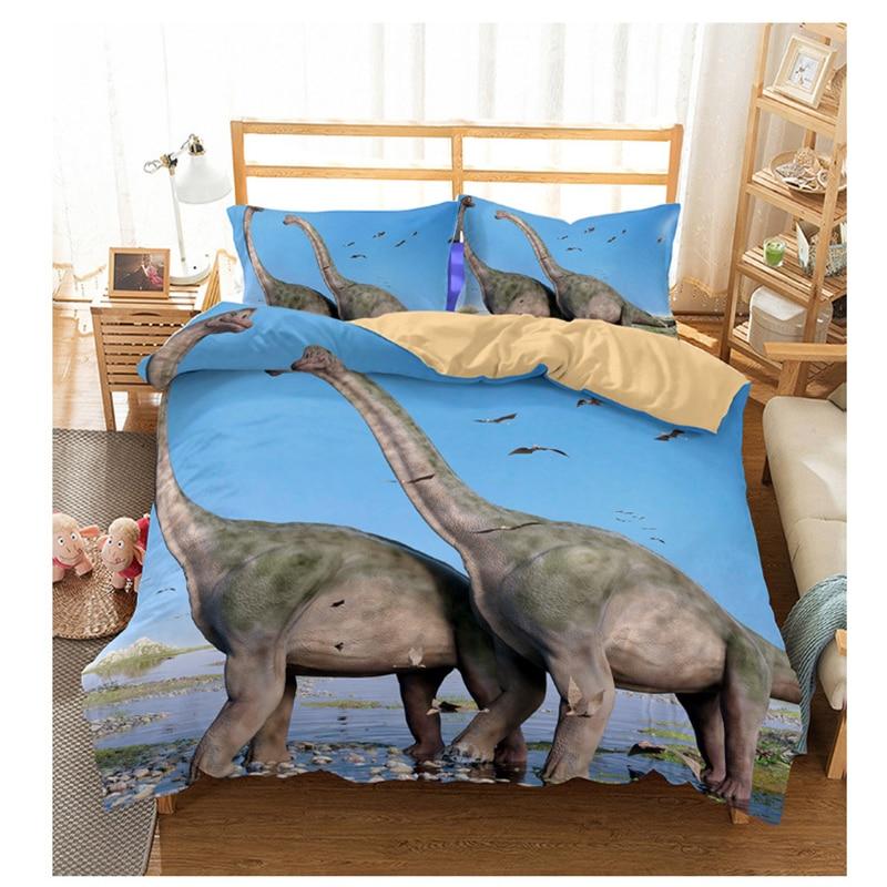 Dinosaurs Kids Bedding Set Duvet Cover Quilt Cover Pillow Case Jurassic Animals