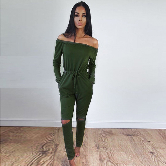 2016 Trend Hole Sexy Off Shoulder Jumpsuit Cotton Slash Neck Long Pants Bodysuit Women Overalls Belted Fitted Romper