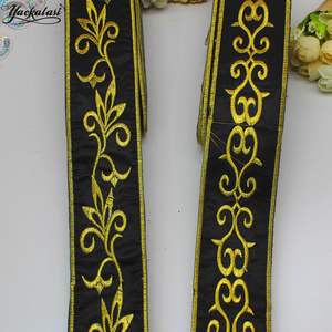 YACKALASI, 6 ярдов/партия, золотая, черная лента, металлическая, золотая, вышитая тесьма, пояс, кружево, железо, золото и серебро, планки 5 см