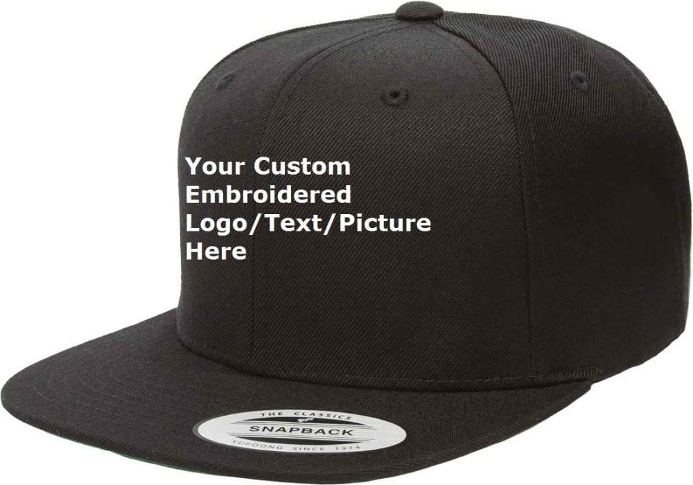 8d5c7e380be8 Custom Your Own Text logo/ picture/ image 3D Thicker Embroidered Snapback  Cap Customized Hat No MOQ one Piece Cap Order Retail - AliExpress