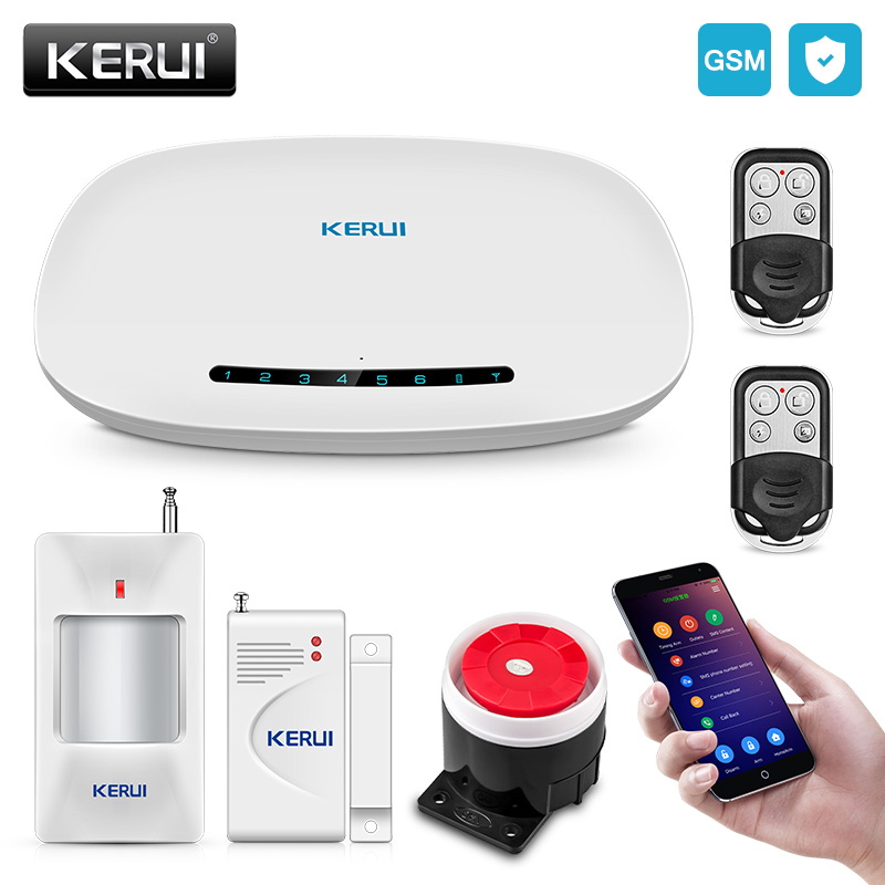 KERUI GSM Alarm System Security Auto Dial APP Control Fire Protection Wireless Home Burglar Security DIY Kit kingma dual 2 channel np fw50 battery charger for sony a5000 a5100