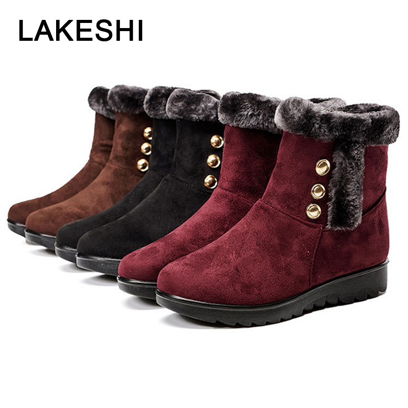 Women Boots 2018 New Winter Snow Boots Warm Fur Mother Shoes Wedge Ankle Boots For Women Fashion Women Shoes Zipper Female Shoes