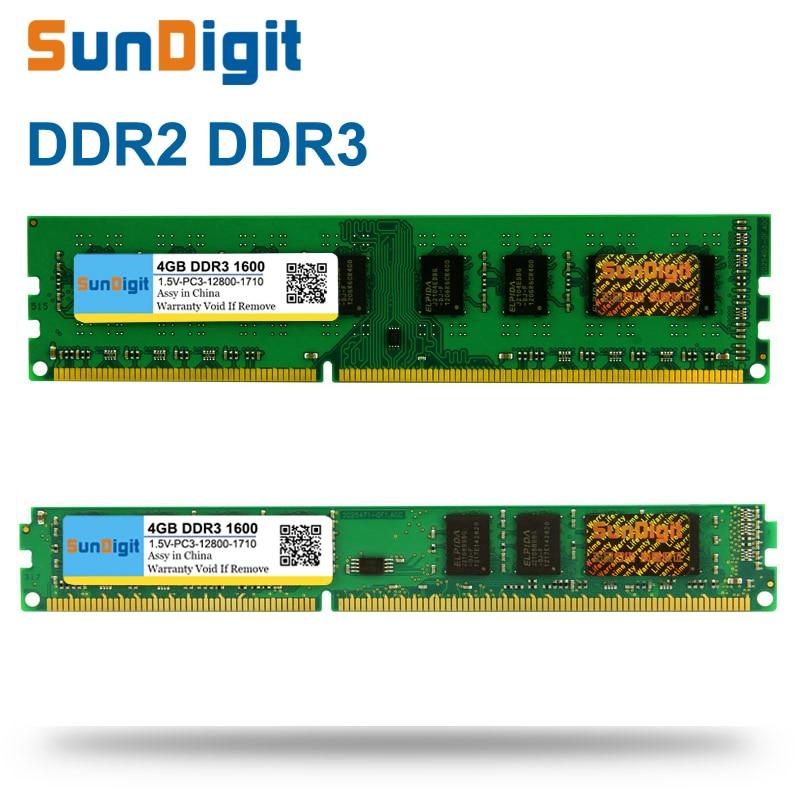 SunDigit DDR 2 3 DDR2 DDR3 / PC2 PC3 1GB 2GB 4GB 8GB 16GB Computer Desktop PC RAM Memory PC3-12800 1600MHz 1333MHz 800MHz