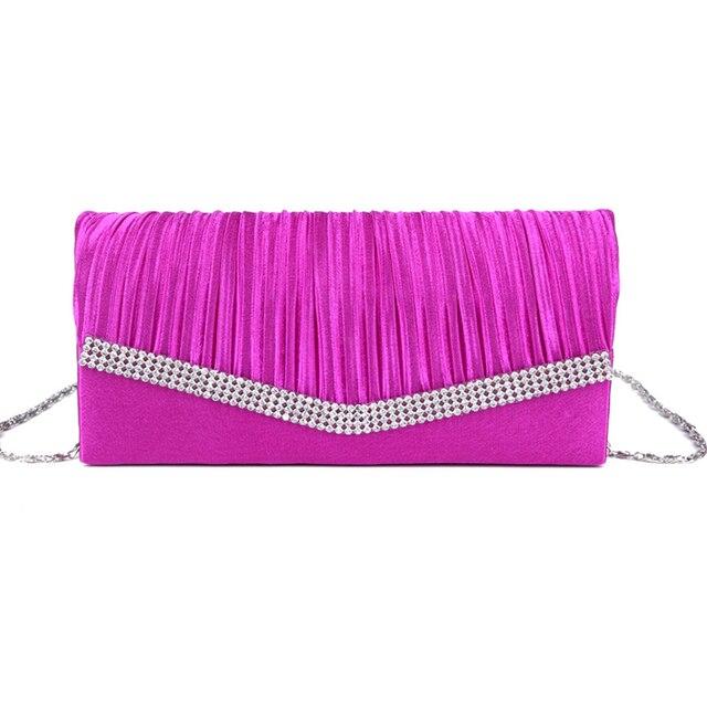 Women Satin Clutch Bag Rhinestone Evening Purse Ladies Day Clutch Chain Handbag Bridal Wedding Party Bag Bolsa Mujer 2018 XA1080 2