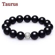 Sterling Silver Jewelry Taurus Bracelets Men Black Agate Beads Bracelet Pulseira Masculina Men