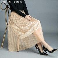 Spring Gold Velvet Mesh Skirts Women Female High Waist Pleated Midi Skirt
