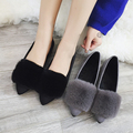 2016 Winter Shoes Womens Rabbit Fur Loafers Pointed Toe Slip on Flat Shoes Black Loafer Woman Ballet Flats Ladies Boat Shoe 2969