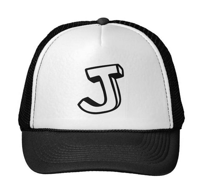 70ea933d9cf Letter J Print Baseball Cap Trucker Hat For Women Men Unisex Mesh  Adjustable Size Black White