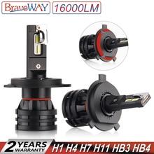 BraveWay 16000LM светодиодный автомобилей лампочки H4 H7 H8 H9 H11 HB3 HB4 9005 9006 светодиодный фар для автомобиля лампы Turbo лампы для Авто 12 V 24 V
