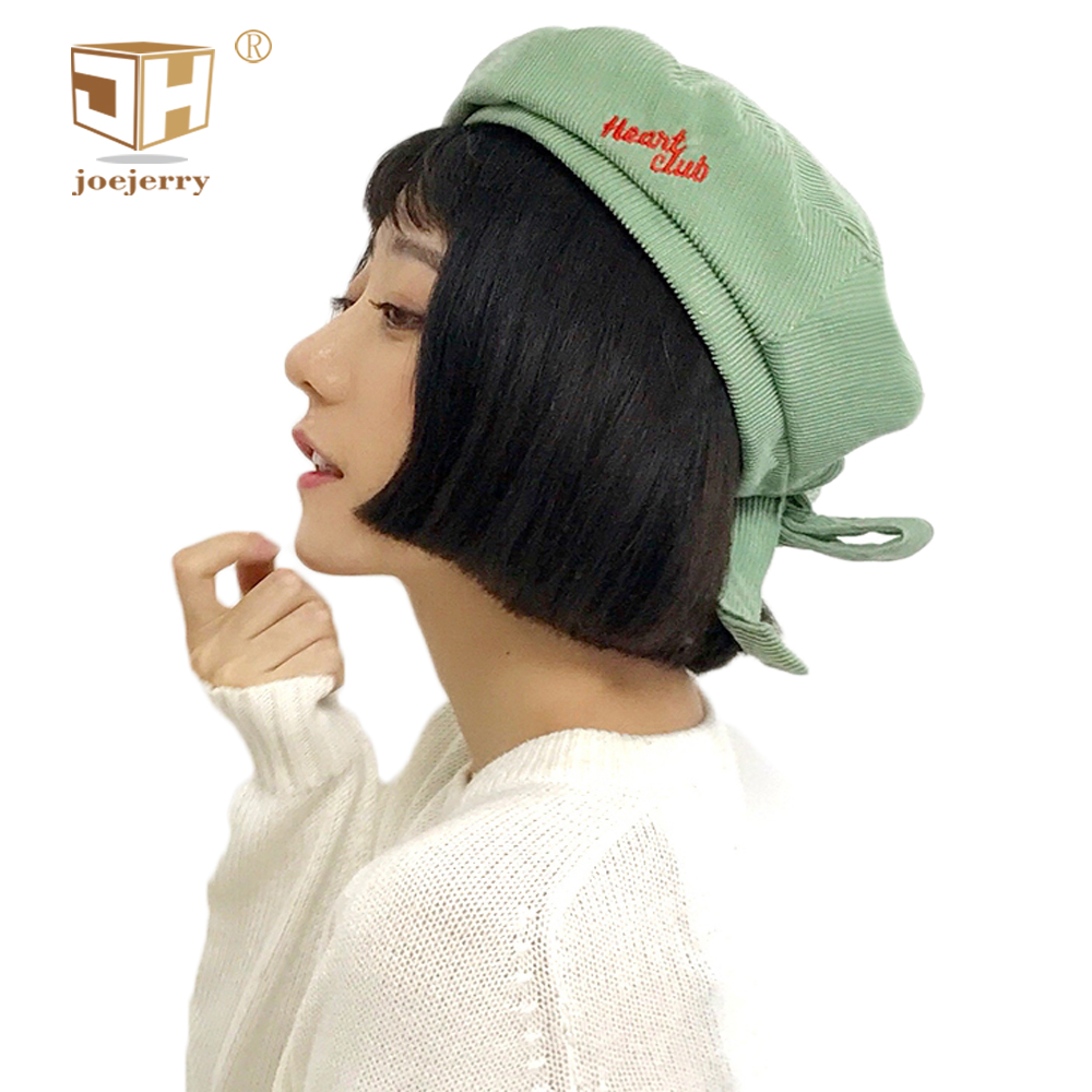 joejerry Harajuku Beret Female Cute Pink Green Beret Embroidery Corduroy Girls Flat Cap Newsboy Hats 2018 Spring Summer