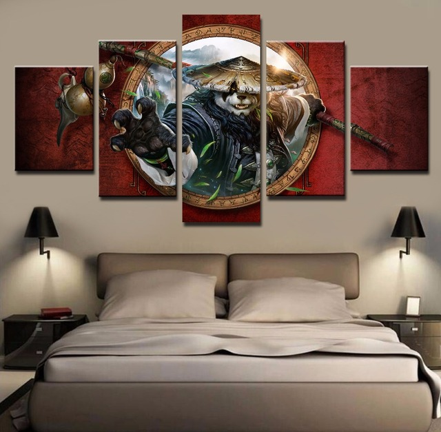 Home Decoration Paintings Part   44: Frame 5 Piece Canvas Art Warcraft  Painting For Home