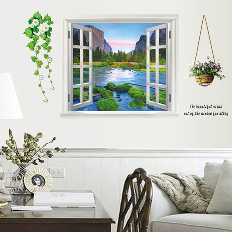 Mountain River Scenery 3d Window Wall Sticker Bedroom Decoration Diy Mural Art Decal Home Decor Natural Style Posters