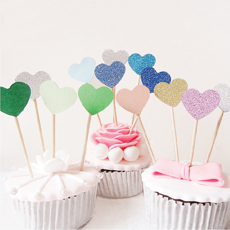 Happy Birthday Party 10 pcs Heart New Cake Topper Supplies Baby Shower Decorations Wedding Party Gold