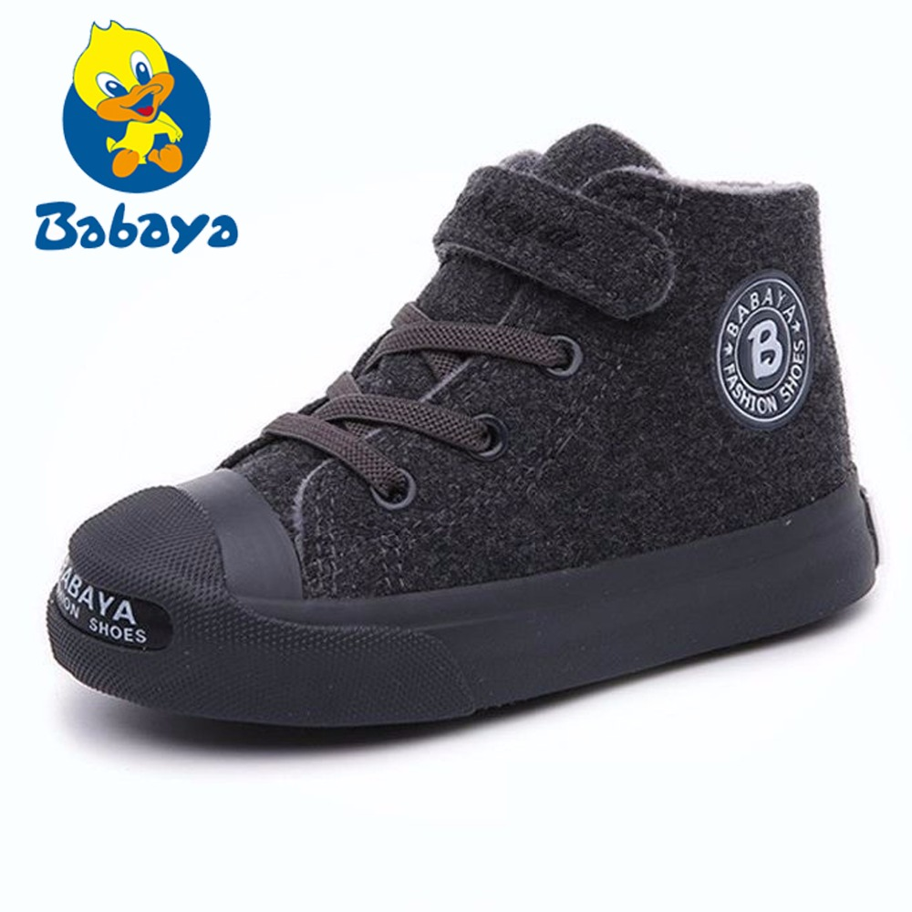 Brand Autumn Children Boots Short Plush Warm Shoes Flock Boys Girls Boots New  Winter Black Gray Rubber Sole Kids Sneakers