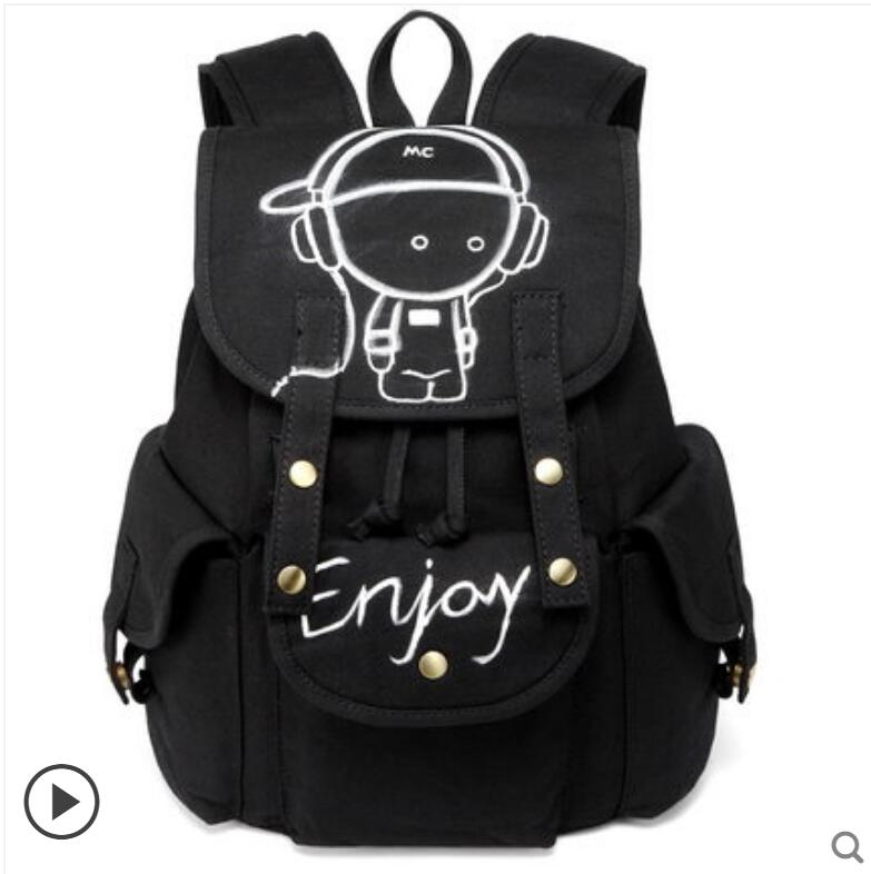 2018 new graffiti canvas shoulder bag men and women backpack student bag Korean fashion hand-painted backpack anime one piece cosplay student bag college wind shoulder bag men and women backpack graffiti canvas bag