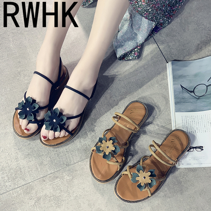RWHK Female flat straps one shoes two wear 2019 spring and summer new Korean version of wild flowers beach slippers B208