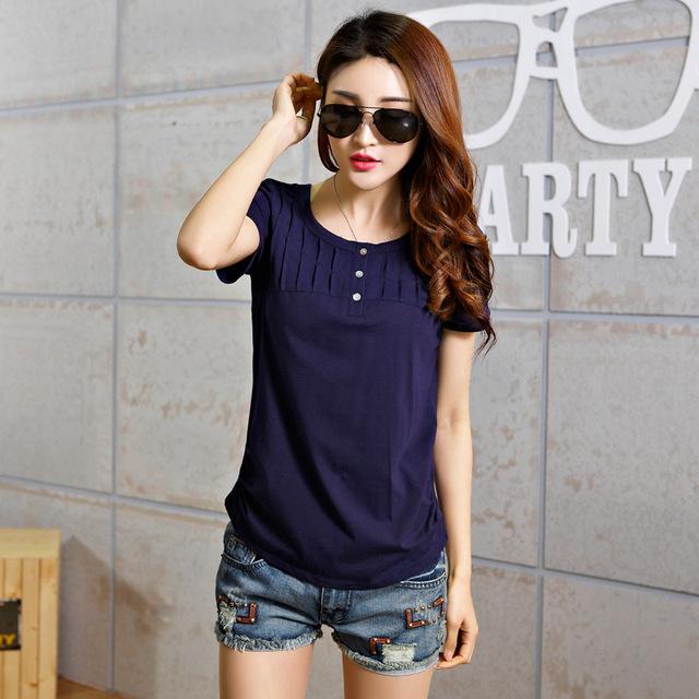 Ropa de Mujer Verano Coreana de Manga Curta Camisa de T Das Mulheres roupas de Verão 2017 Tshirts T-Shirt Botão de Rosa Feminino Femme Plus tamanho