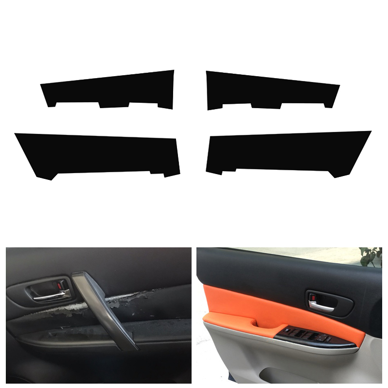 4PCS Car Interior Microfiber Leather Door Panel Cover Protective Trim For Mazda 6 2006 2007 2008