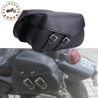 2x Cool Black Leather Motorcycle Saddle Bag With Rivets Saddlebag Motor Bike Luggage For Harley Yamaha