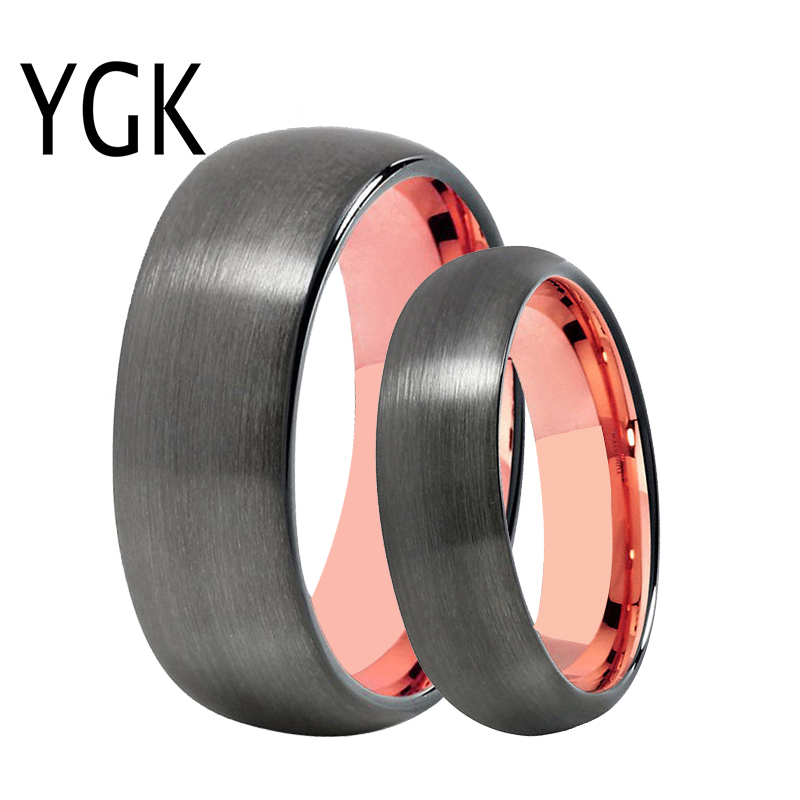 YGK Jewelry Trendy Wedding Bands Rings for Women / Men Tungsten Ring Gunmetal With Rose Gold Color Promise Engagement Jewelry ls hot sale rose gold hearts halo ring wedding rings for women compatible with original jewelry fashion lady jewelry z