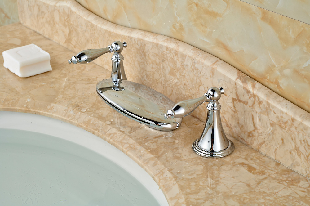 Polished Chrome Brass Waterfall Bathroom Faucet Vanity Sink Mixer Tap 3 Holes
