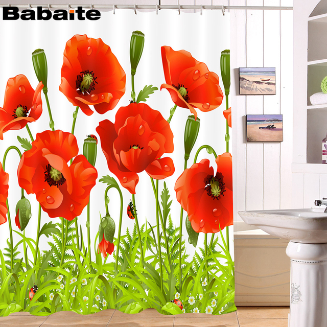 Babaite Bathroom Corn Poppy Shower Curtain Waterproof Polyester Fabric With 12pcs Hooks Rideau De Douche