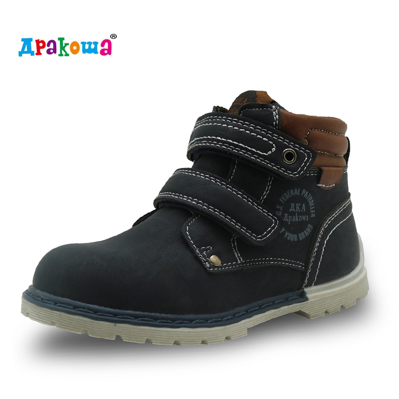 Apakowa 2017 Spring Autumn Children Casual Shoes Toddler Little Kids Boys PU Leather Hook and loop