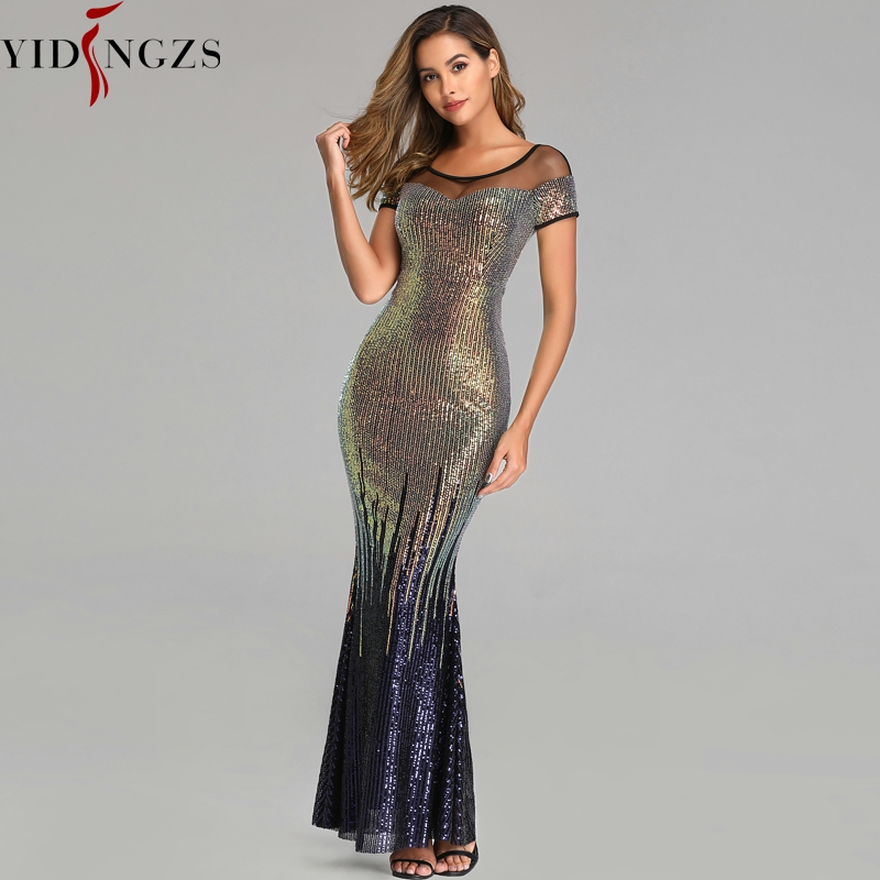 YIDINGZS New Backless Long Sequin Evening Dresses 2019 Elegant Gold Evening Party Dress-in Evening Dresses from Weddings & Events    3