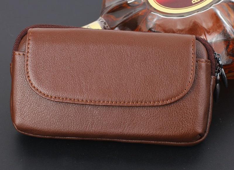 Brown genuine leather belt clip pouch bag case