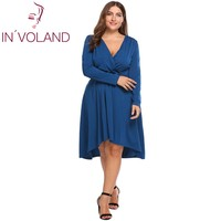 IN'VOLAND Plus Size Women Dress Vintage Autumn Wrap Front Deep Sexy V Neck Long Sleeve Ruched Midi Dresses Vestidos Big Size 3XL