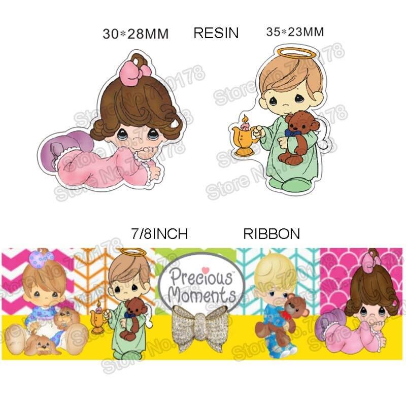 printed cartoon baby girl and boy grosgrain ribbon and resin sets 7/8inch 50yard ribbon and 50pcs resin 1 sets REB103