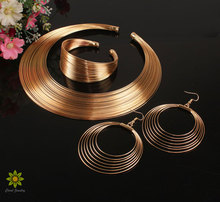 Punky Style Hollow Braid Gold/Silver Multilayer Wide Necklace Bangle Earrings Set