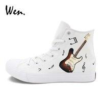 Wen Shoes Original Music Notation Guitar Hand Painted Canvas Sneakers Top High Man Woman Skateboarding Shoes Gym Flat Plimsolls