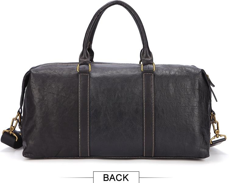 Bolso de viaje de cuero genuino de estilo Simple para hombre, bolso de hombro de cuero de vaca, bolso de cadena para equipaje Masculino, bolso de noche D416 - 4
