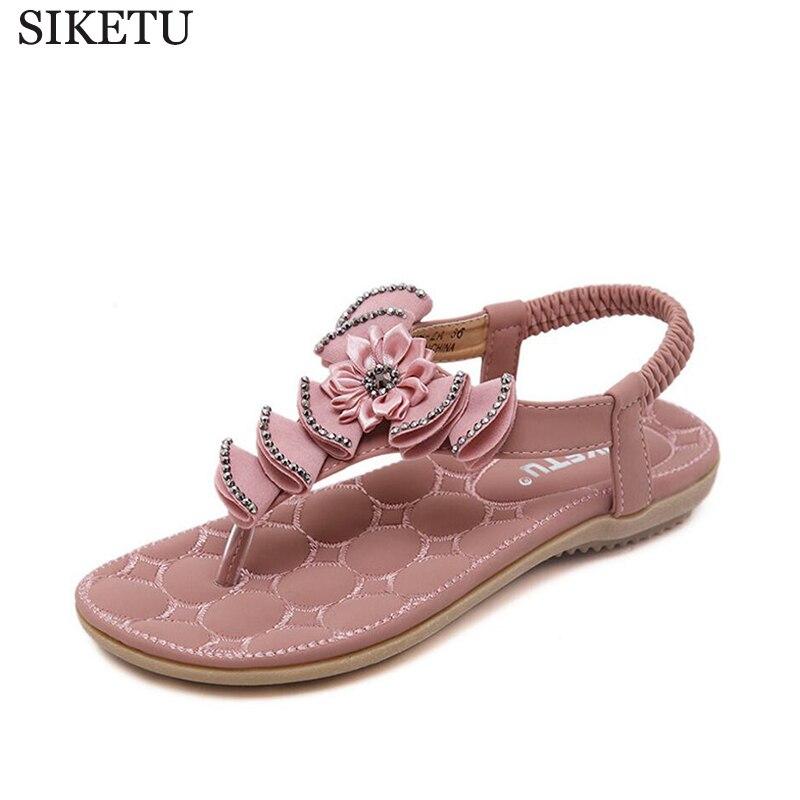 SIKETU Summers Sandals 2017 New Exquisite Diamond Bohemian National Rhinestone Fashion Flat Shoes Women Sandals Large Size k31