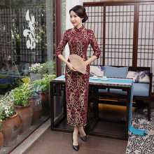 Chinese Traditional Maxi Cheongsam Womens Lace Long Dress Lady Ball Costume S-3XL