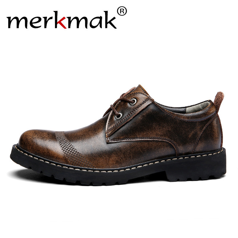 Merkmak Retro Men Oxfords Formal Men's Genuine Leather Shoes Business Man Wedding Brogue Shoes Lace Up Soft Male Footwear Flat