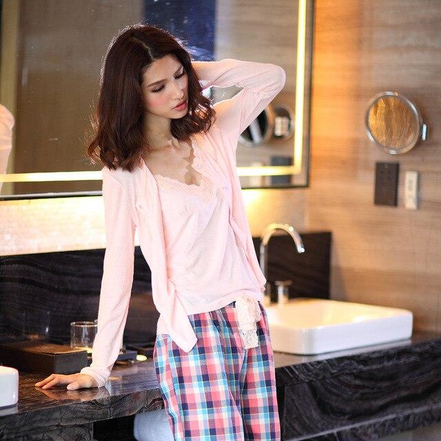 Spring 100% cotton 3 piece suits pyjamas women cozy Long sleeve pajamas sets simple sexy sleepwear pajamas for women Hot sale