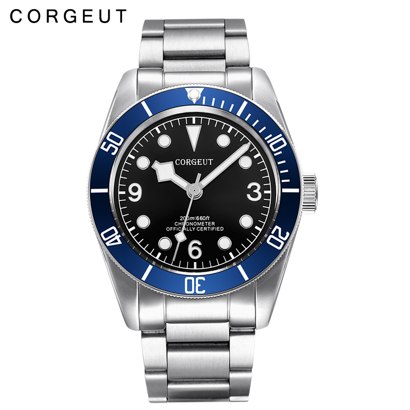 Corgeut 41MM Sapphire glass Black dial blue bezel fullstainless steel band Japan Miyota Automatic mens Watch цена и фото